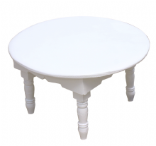 Moroccan Round  Mida Table Zouak Hand painted in White  48cm/19'' (ZT311)